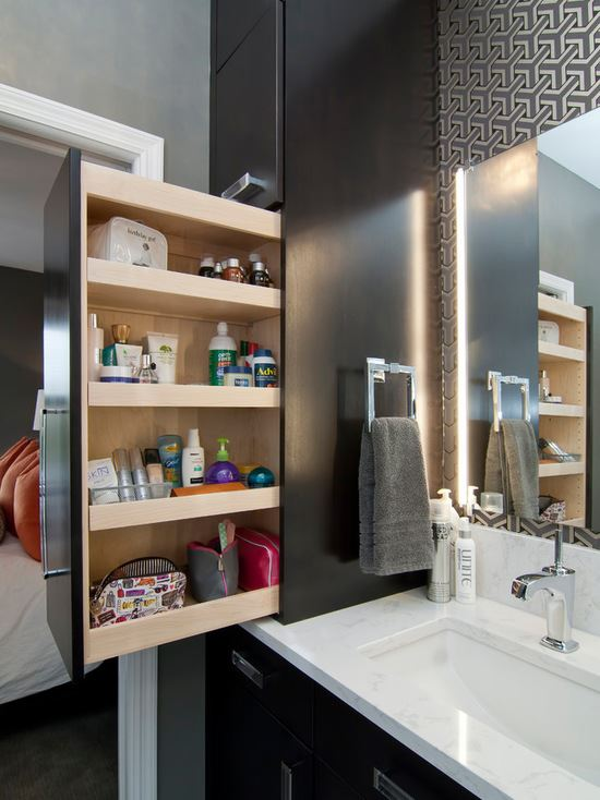Space maximizing bathroom cabinets